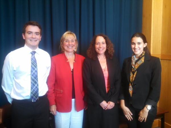 Senator Spilka with Summer 2014 interns Chris, Amy and Stacey.