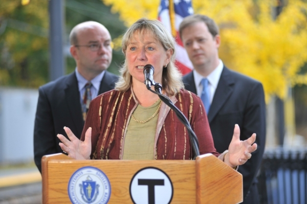 Senator Spilka with Transportation Secretary Jeff Mullan and MBTA GM Richard Davey