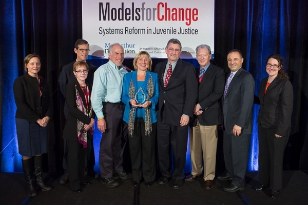 Senator Spilka accepts the Champion for Change award with Massachusetts juvenile justice leaders.